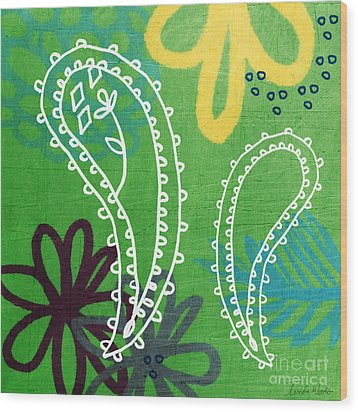 Green Paisley Garden Wood Print by Linda Woods