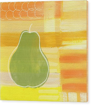 Green Pear- Art By Linda Woods Wood Print by Linda Woods