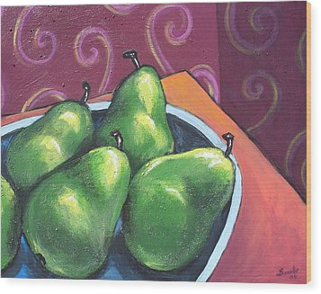 Green Pears In A Bowl Wood Print by Sarah Crumpler