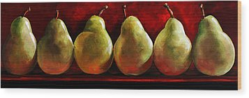 Green Pears On Red Wood Print by Toni Grote