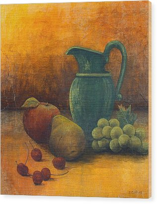 Green Pitcher Wood Print by Sandy Clift