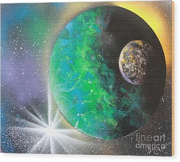 Wood Print featuring the painting Green Planet 4672 by Greg Moores