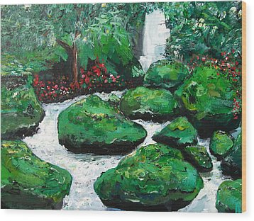 Wood Print featuring the painting Green Rock Creek by Dan Whittemore