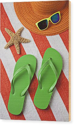 Green Sandals On Beach Towel Wood Print by Garry Gay