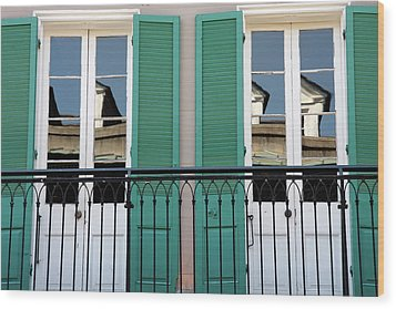 Wood Print featuring the photograph Green Shutters Reflections by KG Thienemann