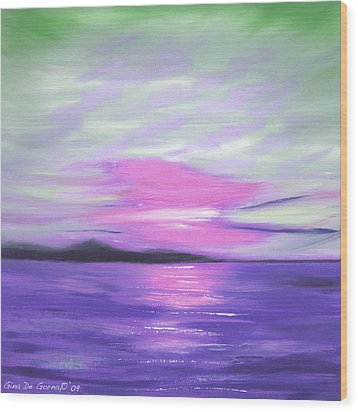 Green Skies And Purple Seas Sunset Wood Print