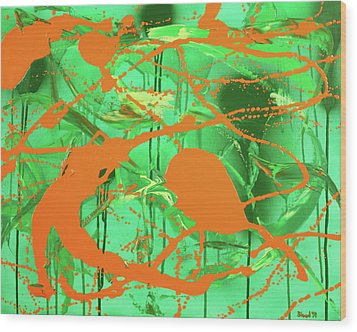 Green Spill Wood Print by Thomas Blood