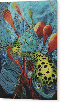 Green Spotted Puffer Wood Print