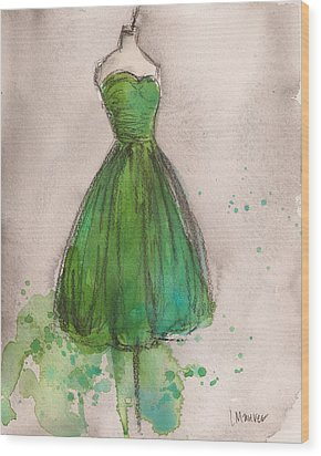 Green Strapless Dress Wood Print by Lauren Maurer