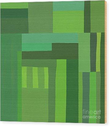 Wood Print featuring the digital art Green Stripes 3 by Elena Nosyreva