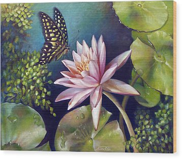Green Tailed Jay Butterfly And Water Lily Wood Print