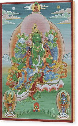 Green Tara With Retinue Wood Print by Sergey Noskov