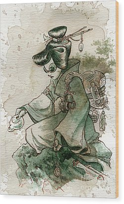 Green Tea Wood Print by Brian Kesinger