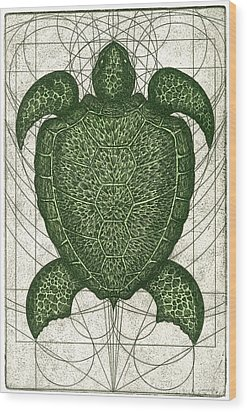 Green Turtle Wood Print by Charles Harden