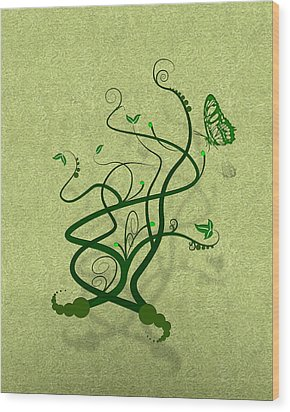 Green Vine And Butterfly Wood Print by Svetlana Sewell