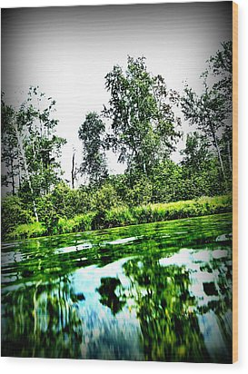 Green Waters Wood Print