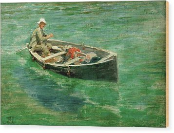 Wood Print featuring the painting Green Waters by Henry Scott Tuke