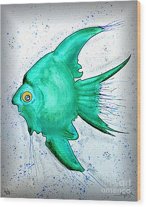 Wood Print featuring the mixed media Greenfish by Walt Foegelle