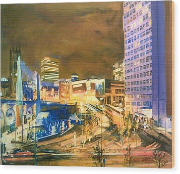 Greengate, Salford, Manchester At Night Wood Print