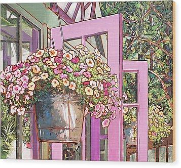Greenhouse Doors Wood Print by Nadi Spencer