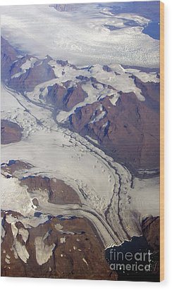 Wood Print featuring the photograph Greenland From 35 Thousand Feet by Stan and Anne Foster