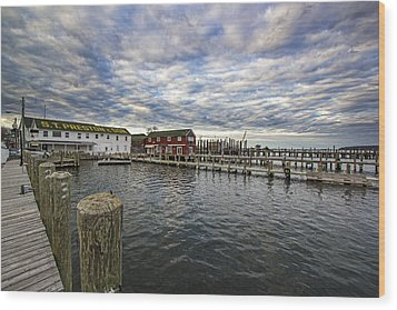 Greenport Dock Wood Print
