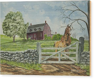 Greeting At The Gate Wood Print by Charlotte Blanchard