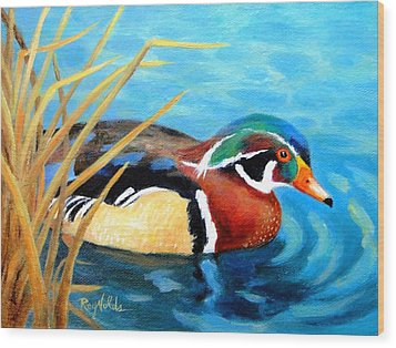 Greeting  The Morning  Wood Duck Wood Print by Carol Reynolds