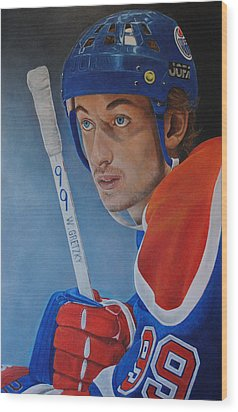 Wood Print featuring the painting 'gretzky' Wayne Gretzky by David Dunne
