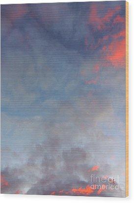 Pink Flecked Sky Wood Print by Linda Hollis