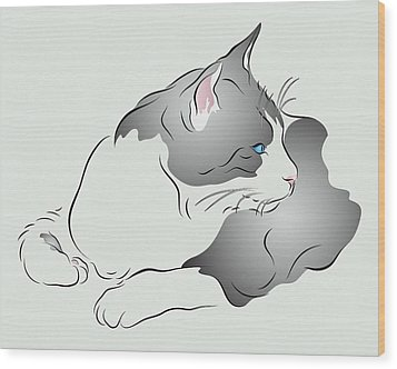 Grey And White Cat In Profile Graphic Wood Print by MM Anderson