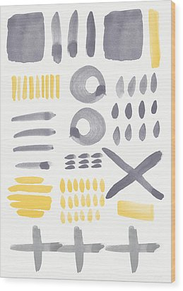 Grey And Yellow Shapes- Abstract Painting Wood Print by Linda Woods