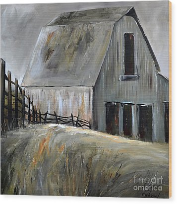 Wood Print featuring the painting Grey Barn by Cher Devereaux