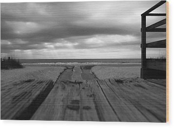 Grey Beach Wood Print