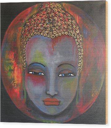 Grey Buddha In A Circular Background Wood Print