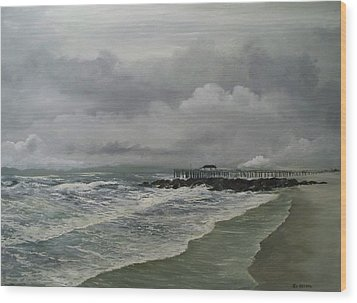 Wood Print featuring the painting Grey Day At Ocean Grove by Ken Ahlering