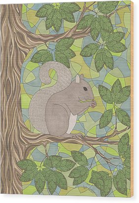 Grey Squirrel Wood Print by Pamela Schiermeyer