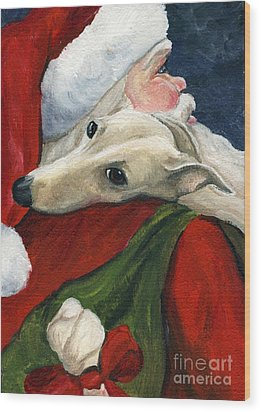 Greyhound And Santa Wood Print
