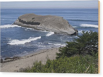 Greyhound Rock State Beach - Santa Cruz - California Wood Print by Brendan Reals