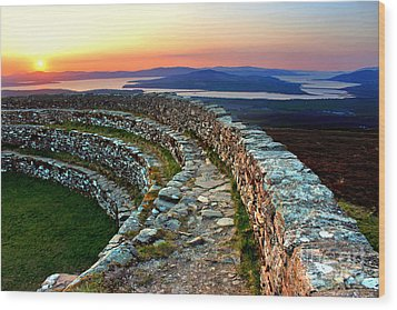 Grianan Fort Sunset Wood Print by Nina Ficur Feenan