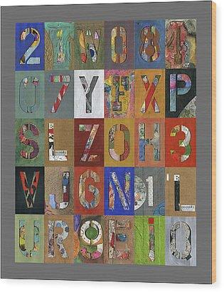 Grid Letters Wood Print