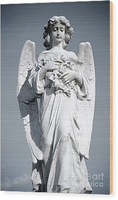 Wood Print featuring the sculpture Grieving Angel On The Old Graveyard by Yurix Sardinelly