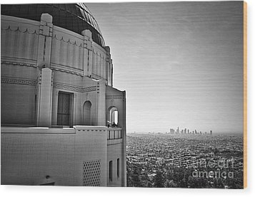 Griffith Observatory And Downtown Los Angeles Wood Print by Kirt Tisdale