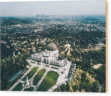 Griffith Observatory And Dtla Wood Print