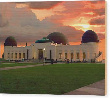 Wood Print featuring the digital art Griffith Park Observatory by Timothy Bulone
