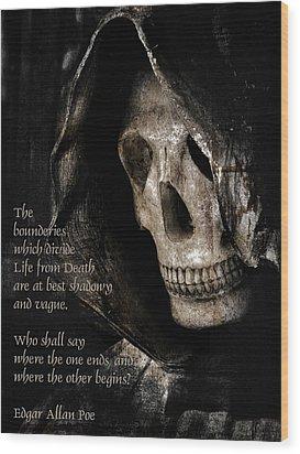 Grim Reaper And Edgar Allan Poe Wood Print