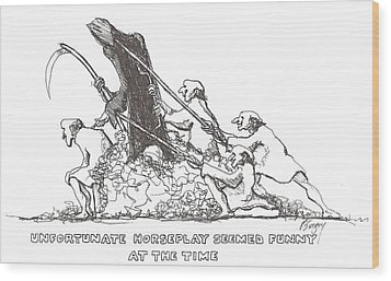 Wood Print featuring the drawing Grim Reaper by R  Allen Swezey