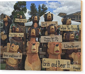 Grin And Bear It Wood Print by Beth Saffer