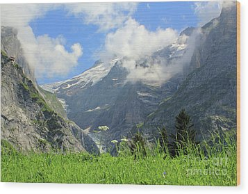 Grindelwald Glacier In Switzerland Wood Print by Pixelshoot Photography