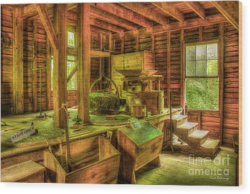 Wood Print featuring the photograph Grindingworks Mingus Mill Great Smoky Mountains Art by Reid Callaway
